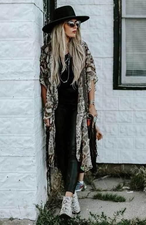 Asymmetric Kimono Cardigan Outfit Ideas