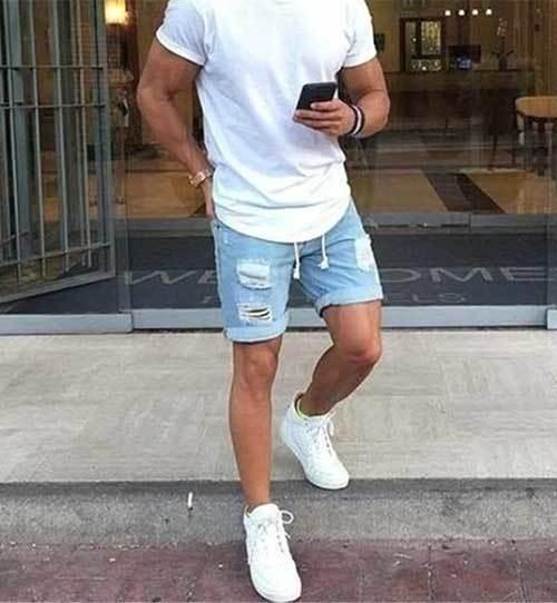 Ripped Short Summer Outfit İdeas Men-16