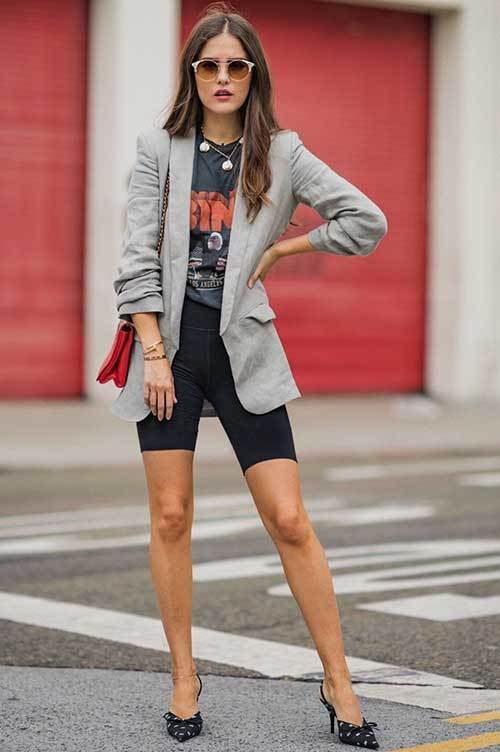 Biker with Blazer Shorts Fashion