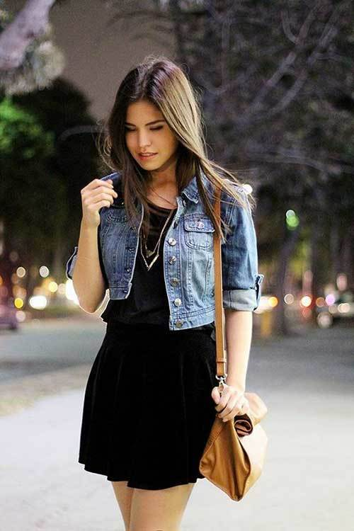 Black Dress Denim Outfit for Women