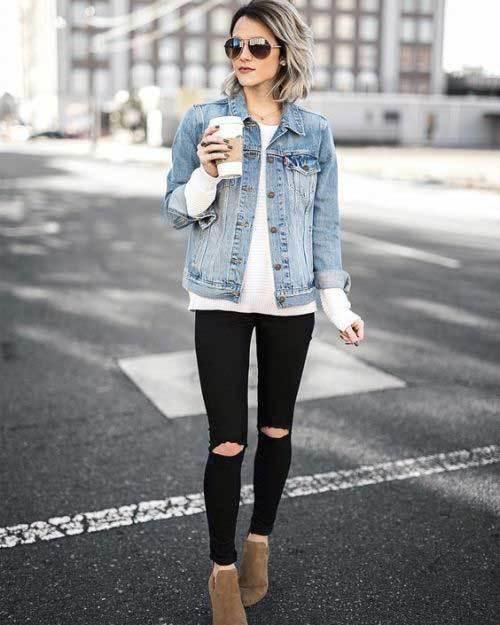 Black Jean Denim Outfit for Women