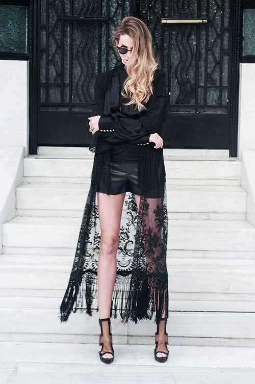 Black Lace Kimono Cardigan Outfit Ideas