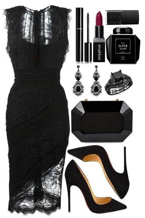 Women's Black Lace Night Out Outfits