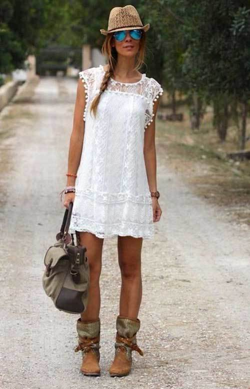 Summer White Lace Dress Outfit Ideas