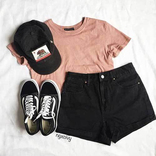 Cute Black Shorts Summer Outfits