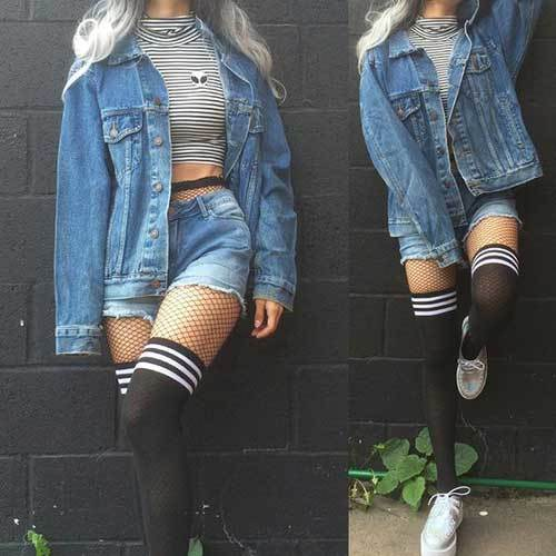 Denim Shorts and Knee Socks Outfits