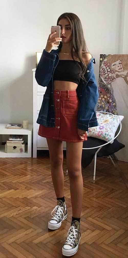 Denim Skirt Outfit for Women