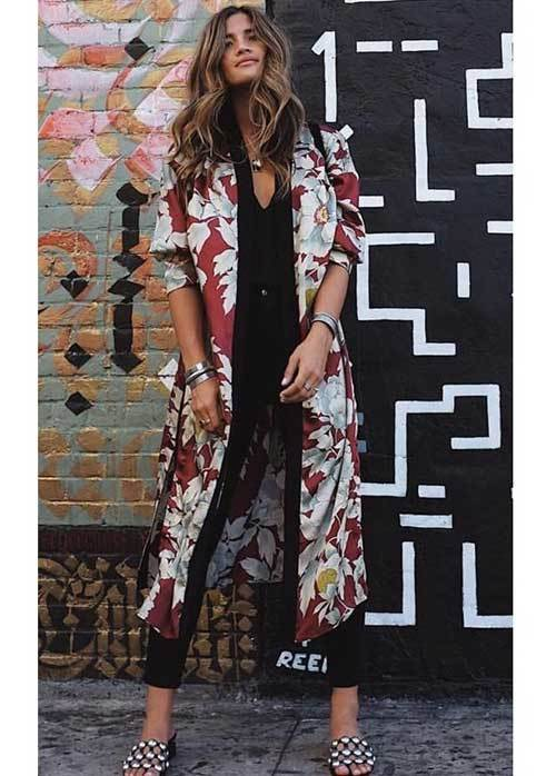 Floral Kimono Cardigan Outfit Ideas