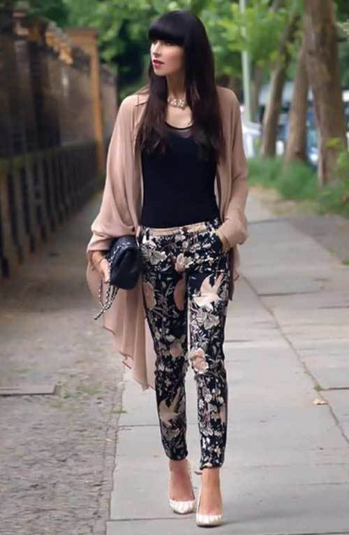Floral Pants and Kimono Cardigan Outfit Ideas