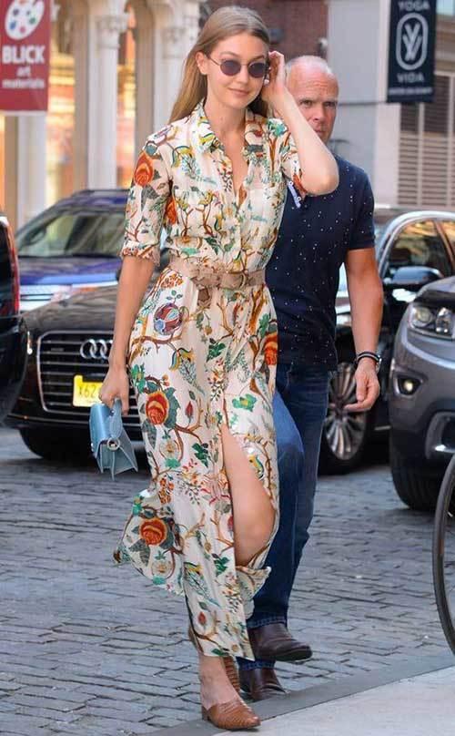 Gigi Hadid Street Style Floral Dress