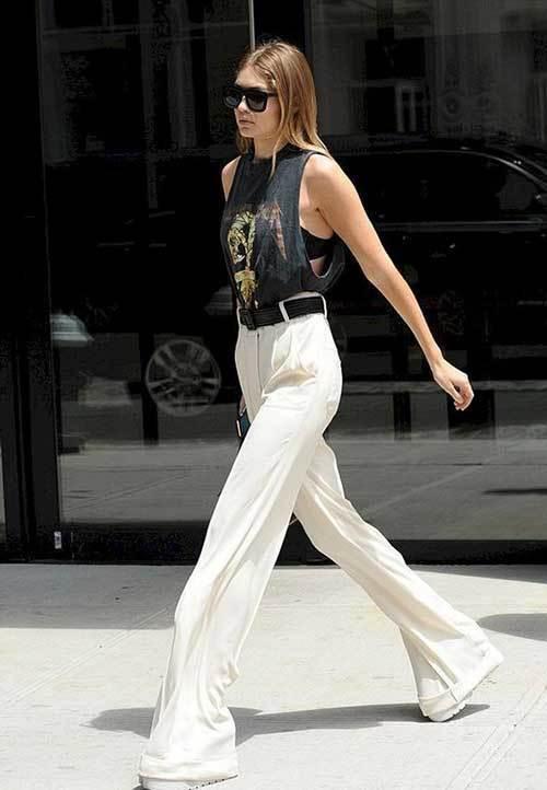 Gigi Hadid Street Style White Trousers