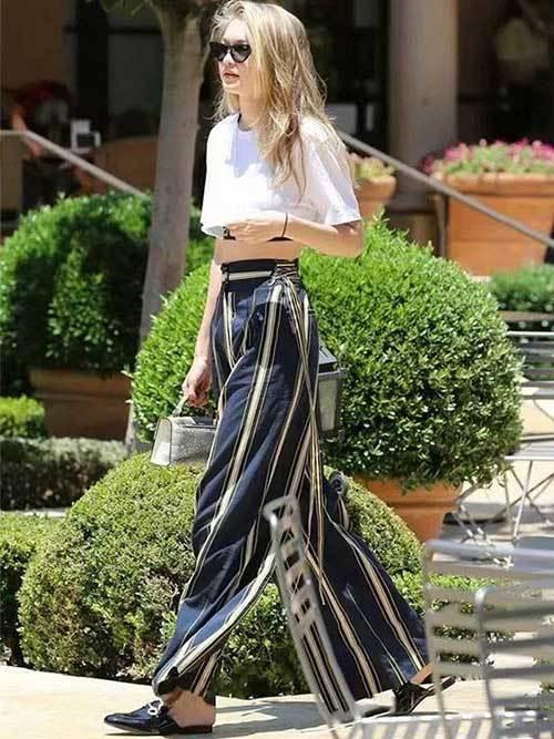 Gigi Hadid Street Style Wide Leg Pants
