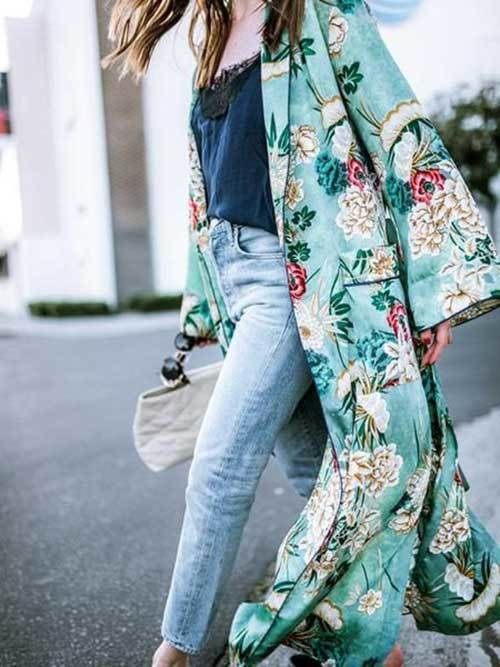 Long Silk Kimono Cardigan Outfit Ideas