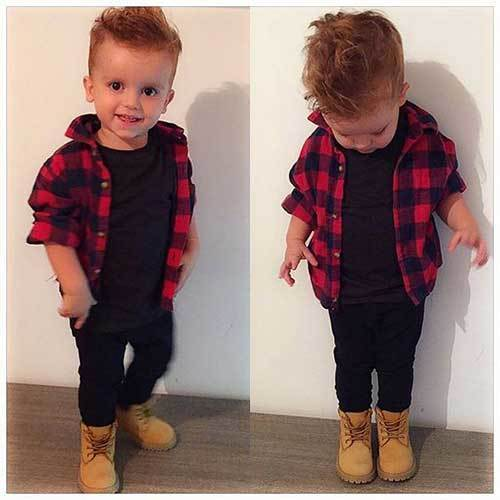 Boy Toddler Plaid Shirt Outfits for Pictures