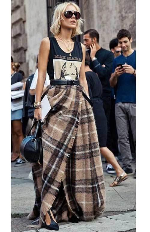 Plaid Skirt Street Fashion