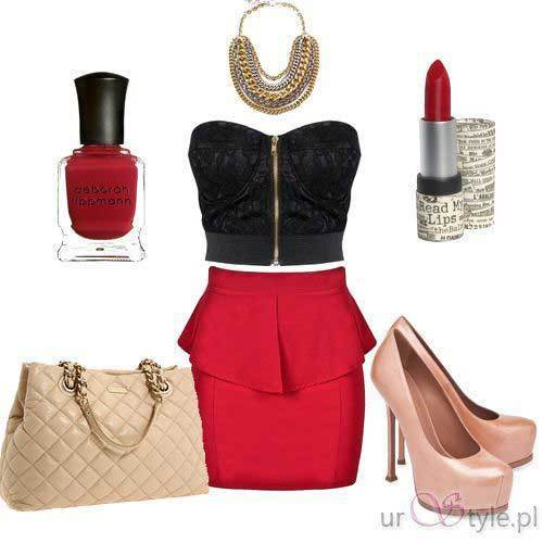 Red Skirt Casual Party Outfit Ideas