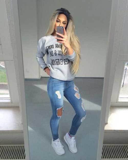 Back to School Ripped Jean Outfits for Girls