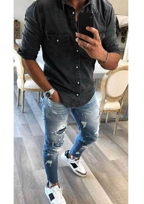 Ripped Jean Outfits for Men