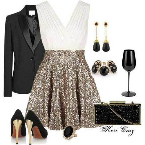 Sequin Skirt Casual Party Outfit Ideas
