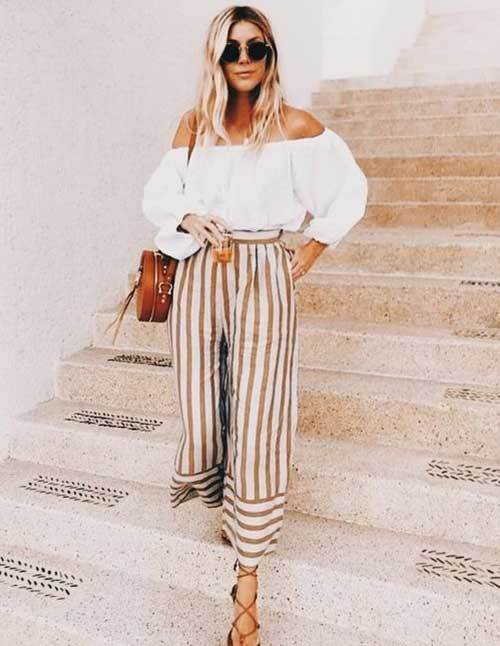 Summer Striped Pants Bohemian Outfit Ideas
