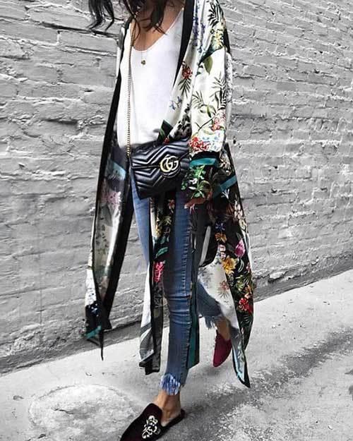 Tropical Kimono Cardigan Outfit Ideas