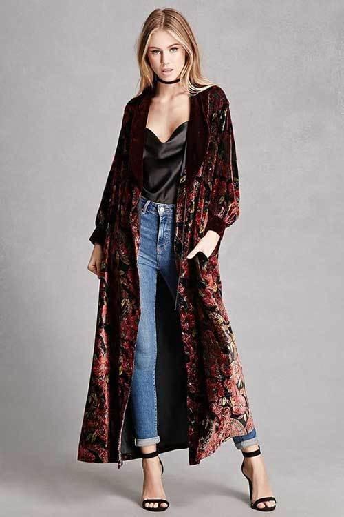 Velvet Kimono Cardigan Outfit Ideas