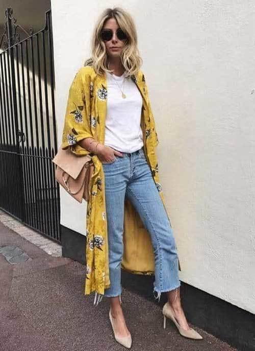Yellow Floral Kimono Cardigan Outfit