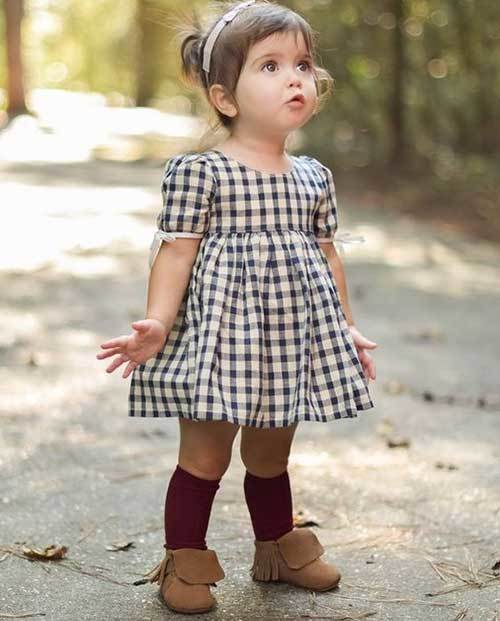 Toddler Girl Plaid Dress Outfits-11