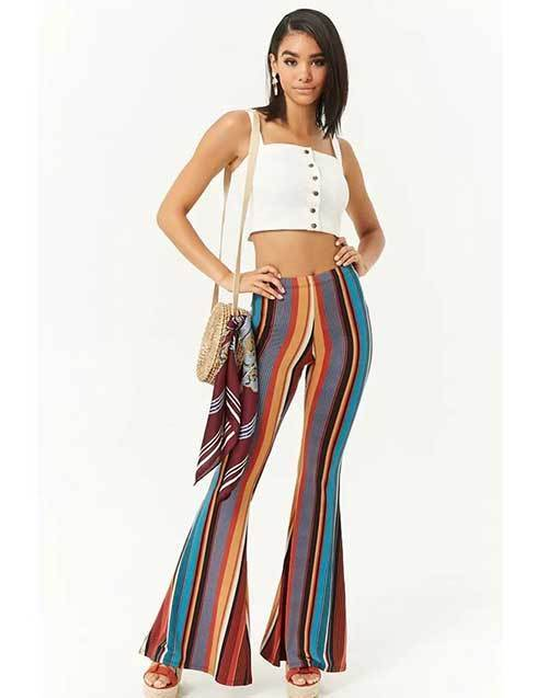 Easy Summer Boho Flare Pants Outfits-12