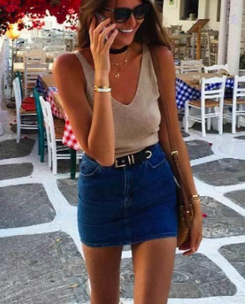 High Waisted Skirt Cute Outfit Ideas-13
