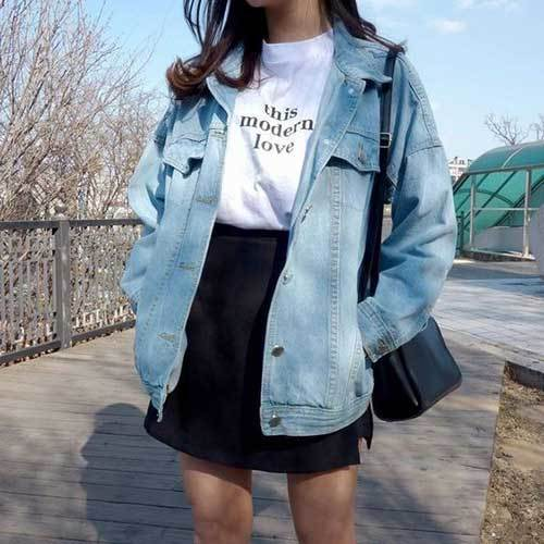 Korean Fashion Big Denim Jacket Outfits-15