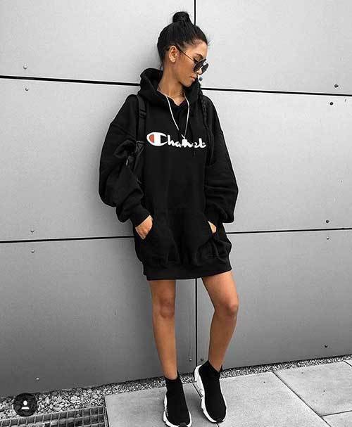 Big Hoodie Dress Outfit Ideas-16