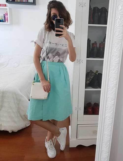 High Waisted Skirt Cute Outfit Ideas-16