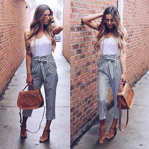 Easy Summer Mid Waist Pants Outfits-17
