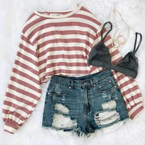 Cute High Waisted Shorts Outfit Ideas
