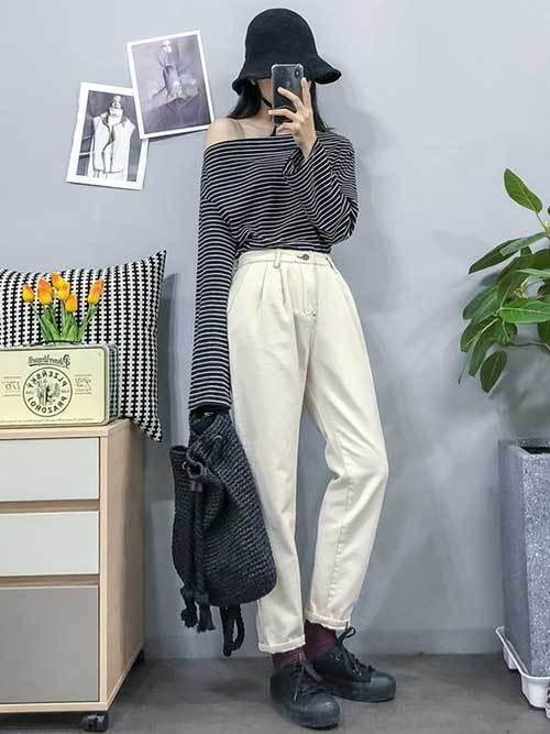 Korean Fashion High Waist Outfits-20