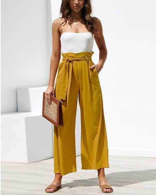 Easy Summer High Waisted Pants Outfits-21