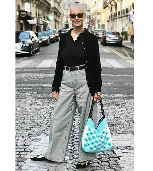 Wide Legged Pants Outfits for Older Women-23