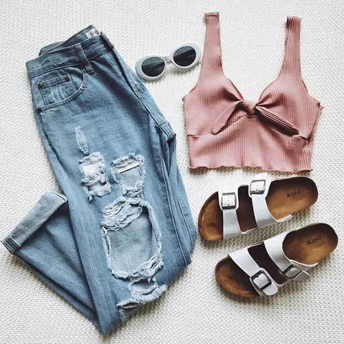 Easy Ripped Jean Summer Outfits-25
