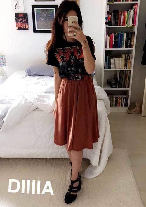 High Waisted Midi Skirt Outfit Ideas-6