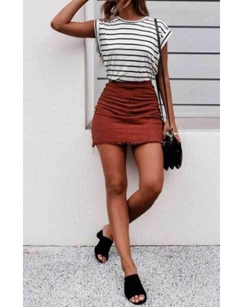 Comfy High Waisted Skirt Outfit Ideas-7