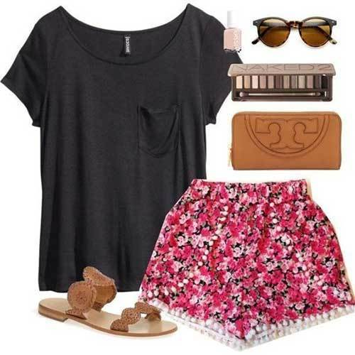 Easy Summer Floral Shorts Outfits-7