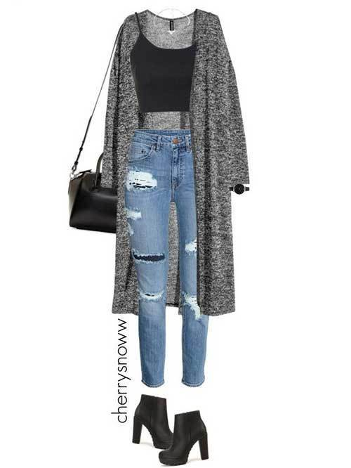 Denim Ripped Jeans Grunge Outfit
