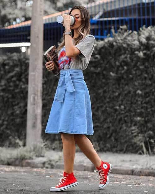 High Waisted Denim Skirt Outfits