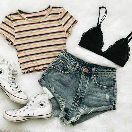 High Waisted Jean Shorts Outfit