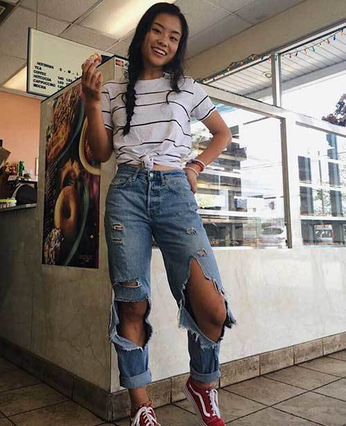 High Waisted Denim Ripped Outfit