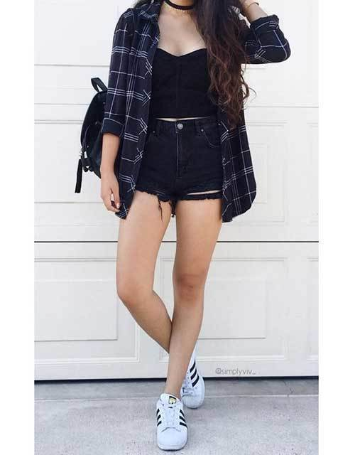 High Waisted Shorts Black Blouse Outfit Ideas