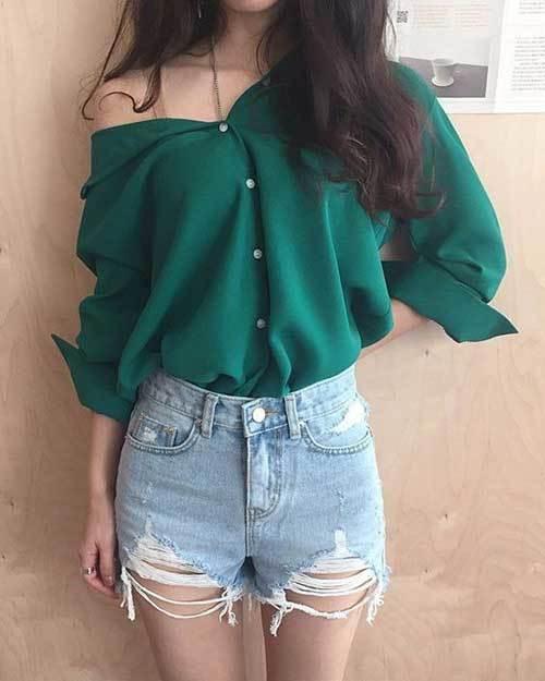 High Waisted Shorts Korean Outfit Ideas