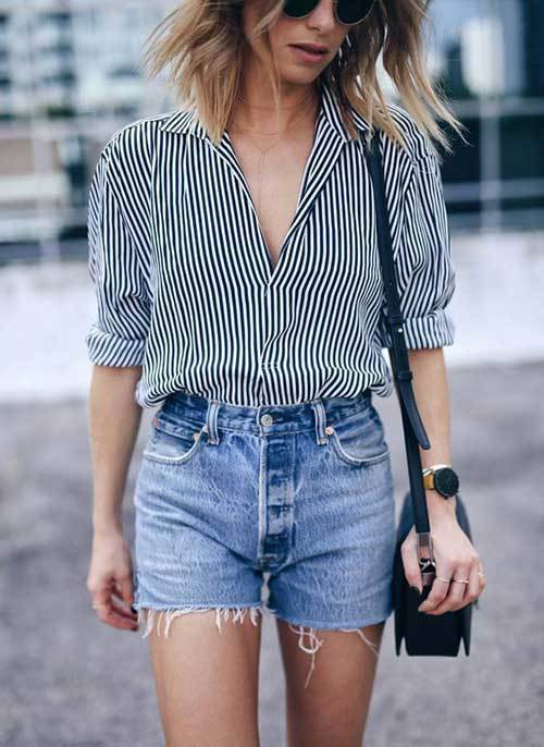 High Waisted Shorts with Striped Shirt Outfit Ideas