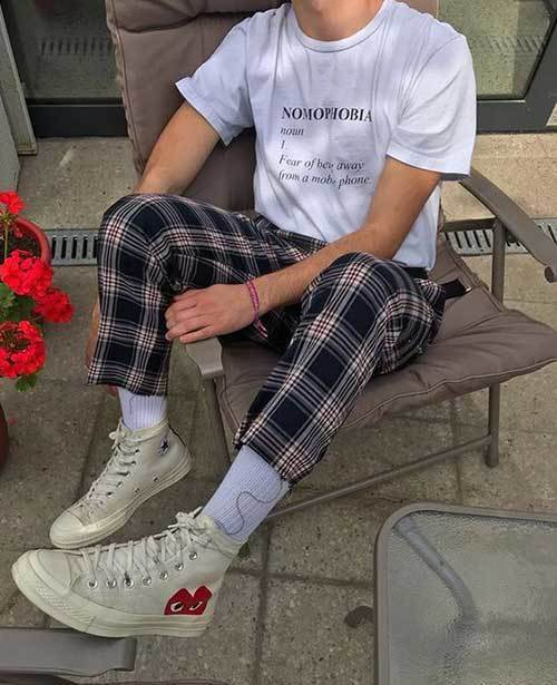 Indie Checkered Pants Outfits Men